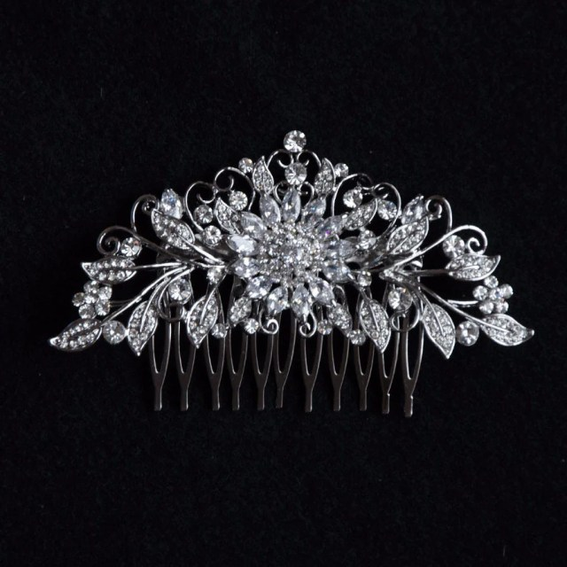 sunflower cubic zirconia silver bridal headpiece, wedding hair accessories, bridal, bridesmaids