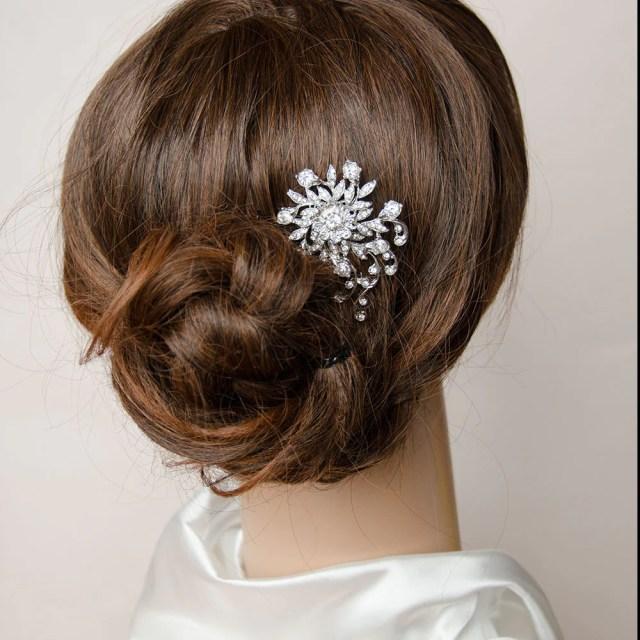 elegant petite floral rhinestones bridal hair comb, bridal headpiece