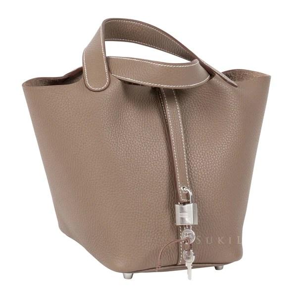 Hermès Picotin Lock Etoupe 18 Clemence Leather Palladium Hardware – SukiLux
