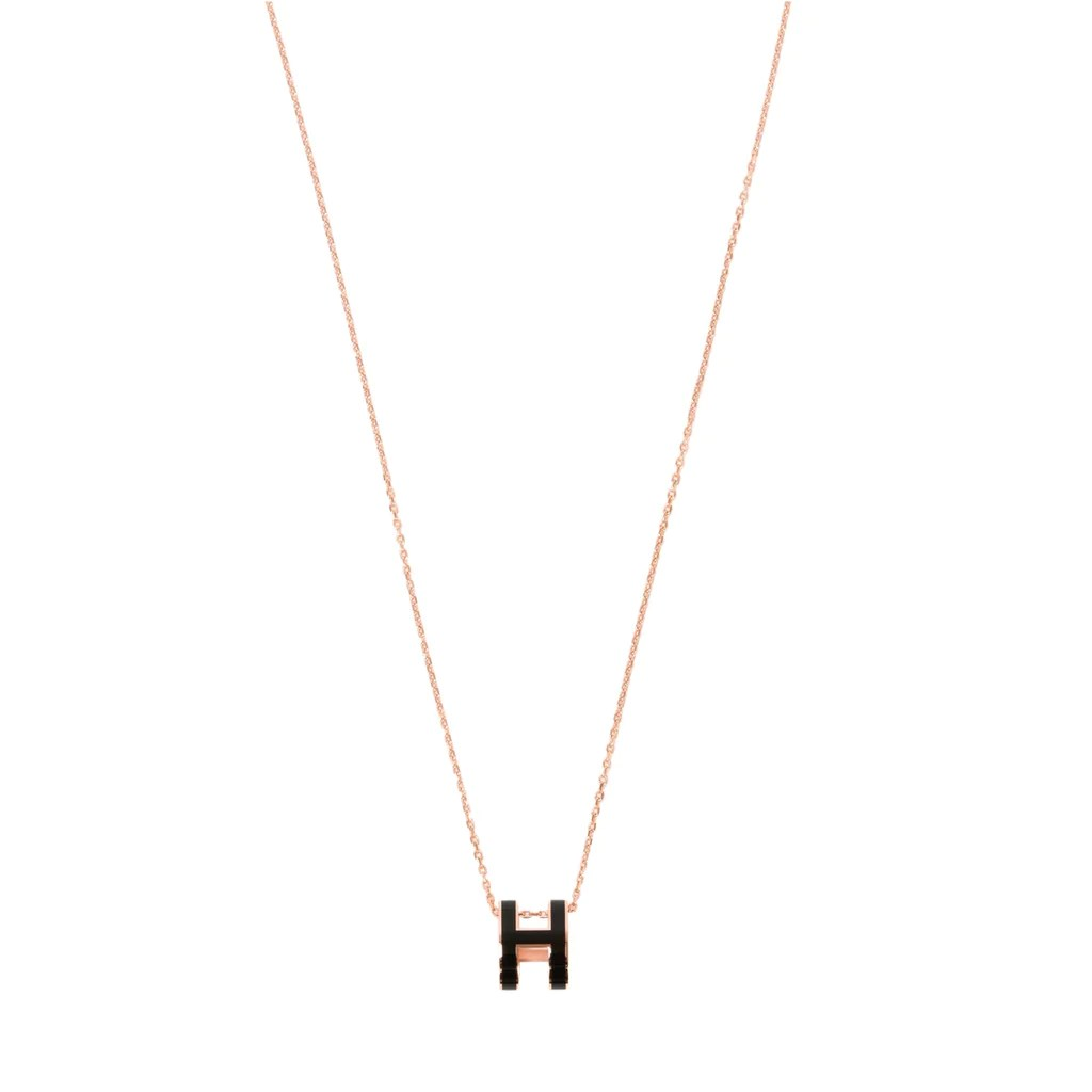 Hermès Pop H Necklace Black Rosegold Plated With Soft Chain
