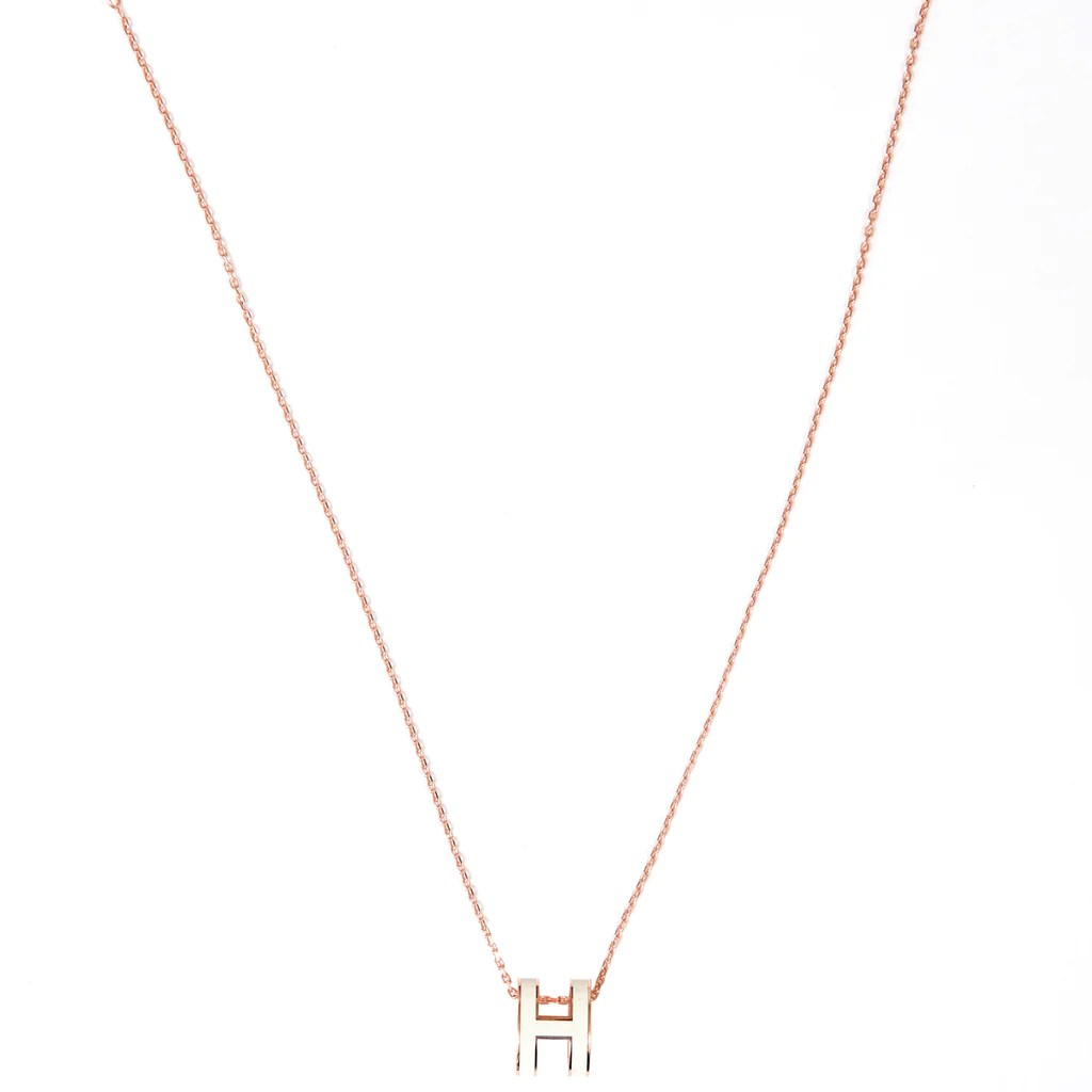 Hermès Pop H Necklace White Rose Gold Plated With Soft Chain