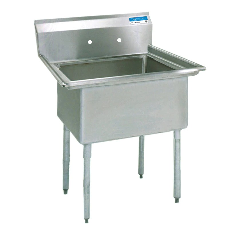 bk resources one compartment sink with no drainboard 18 x 18 compartment