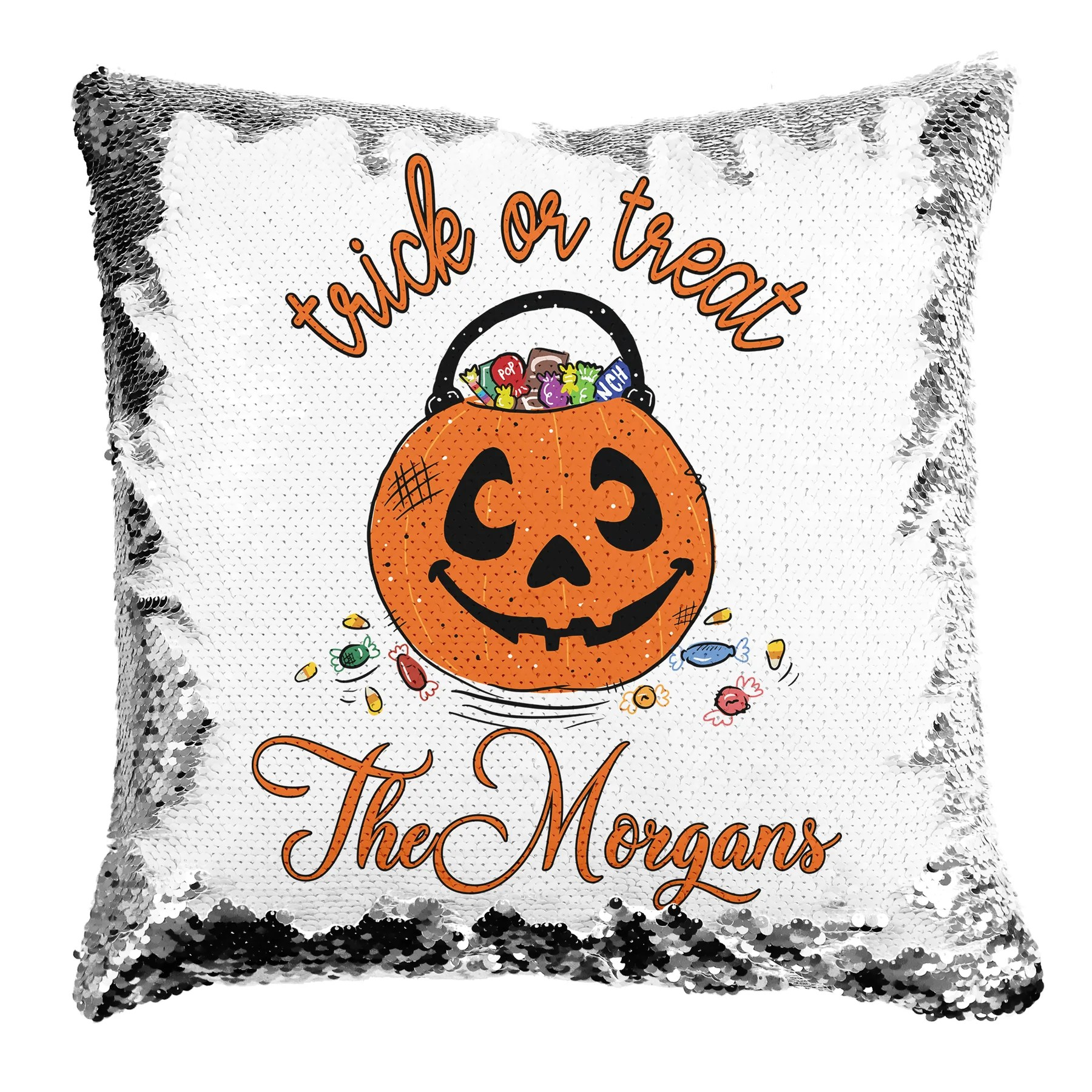 trick or treat personalized reversible sequin pillow 16in x16in