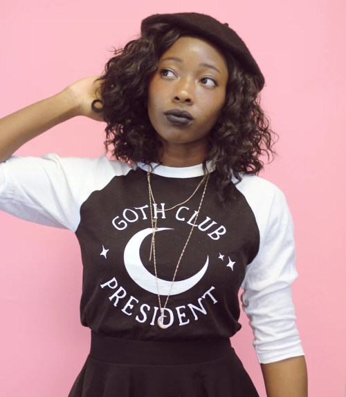goth club president baseball tee adorned by chi - anime lover gifts soyvirgo.com