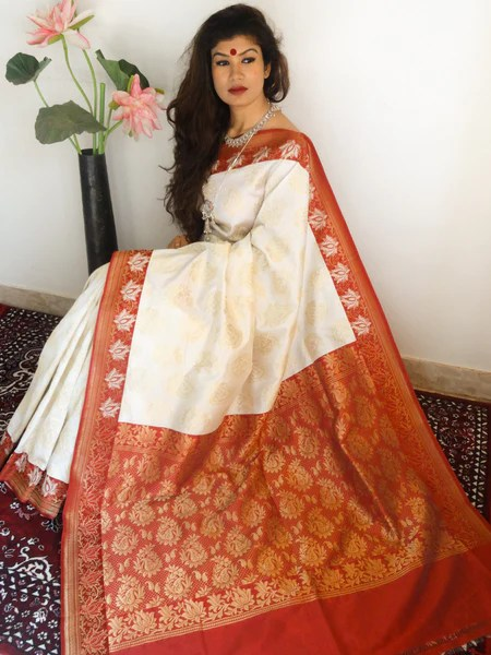 BanaraseeBanarasi Art Silk Sari Off White And Red