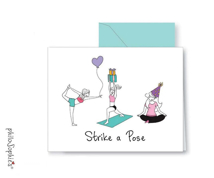 Strike A Pose Yoga Happy Birthday Greeting Card Philosophie S