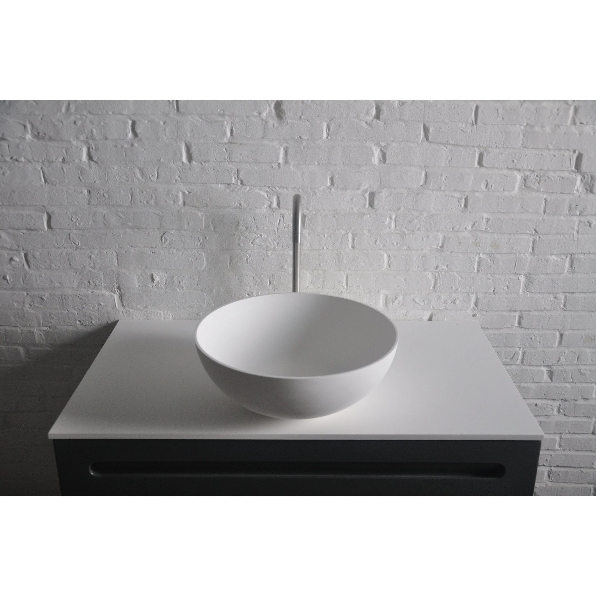 solidthin round 15 in surface vessel sink bowl above counter sink lavatory for vanity cabinet