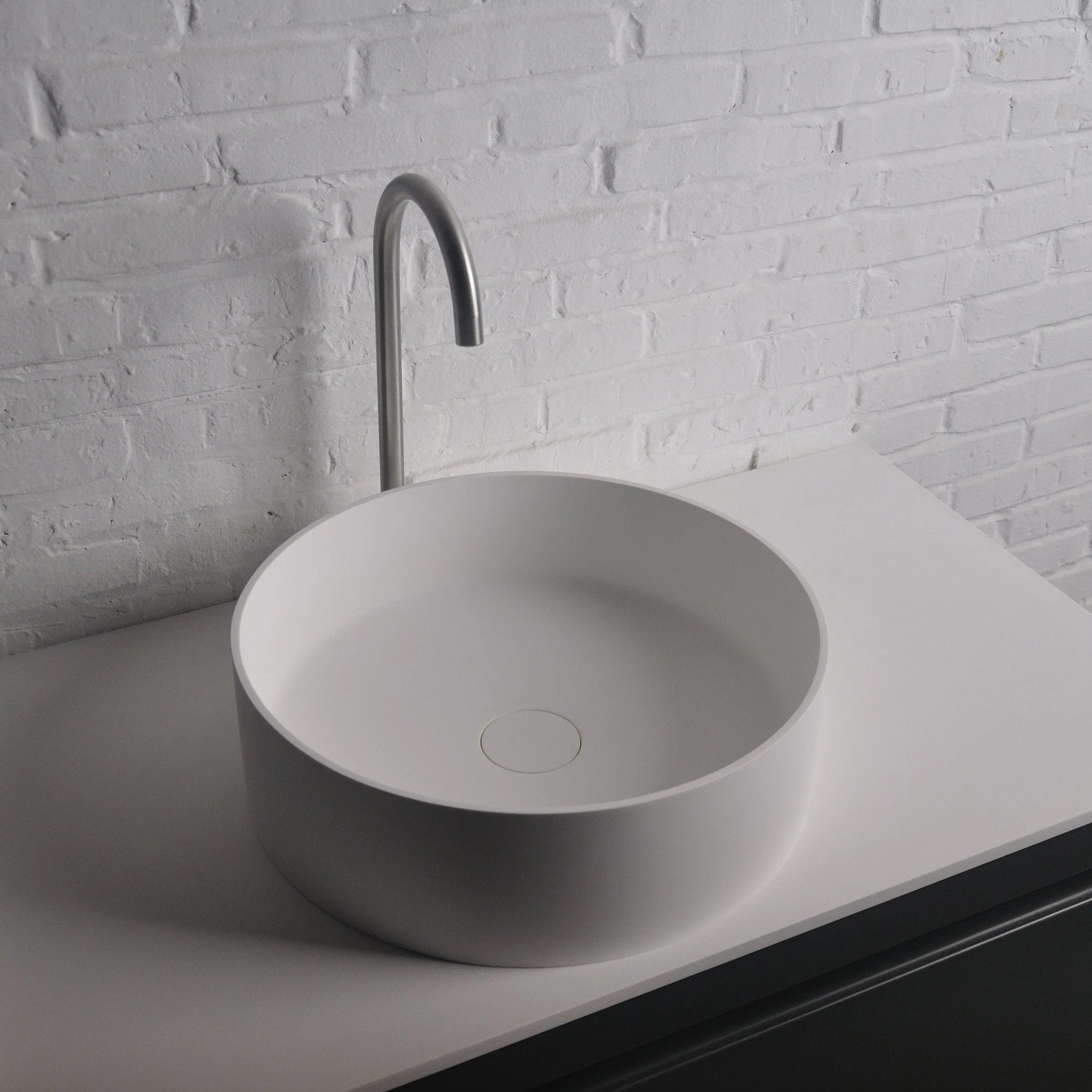 solidthin round 16 in vessel sink bowl above counter sink lavatory for vanity cabinet