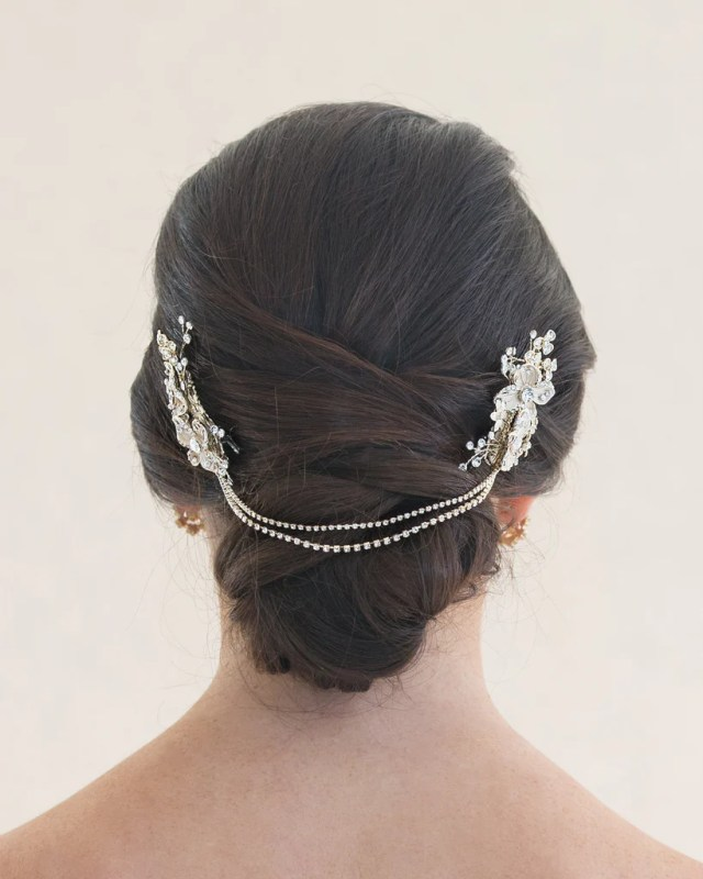 light gold bridal hair chain with floral combs