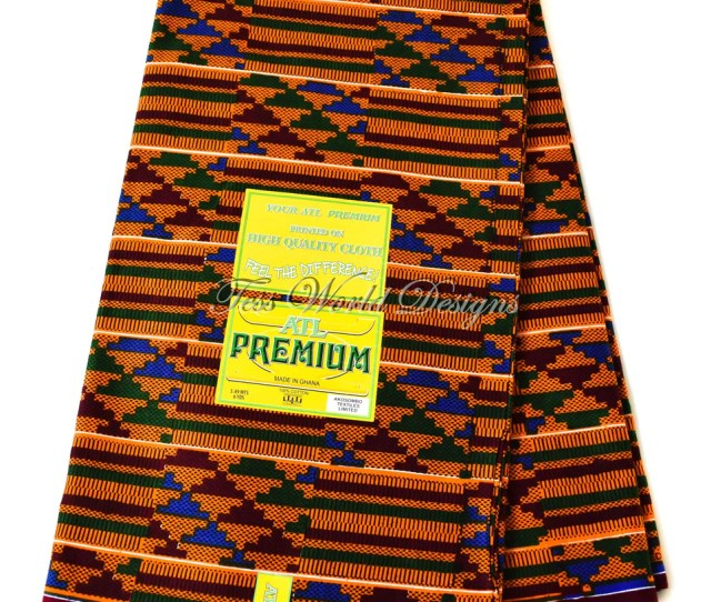 Original Kente Cloth Print Per Yard Atl Made In Ghana Kente Fabric Kf223b
