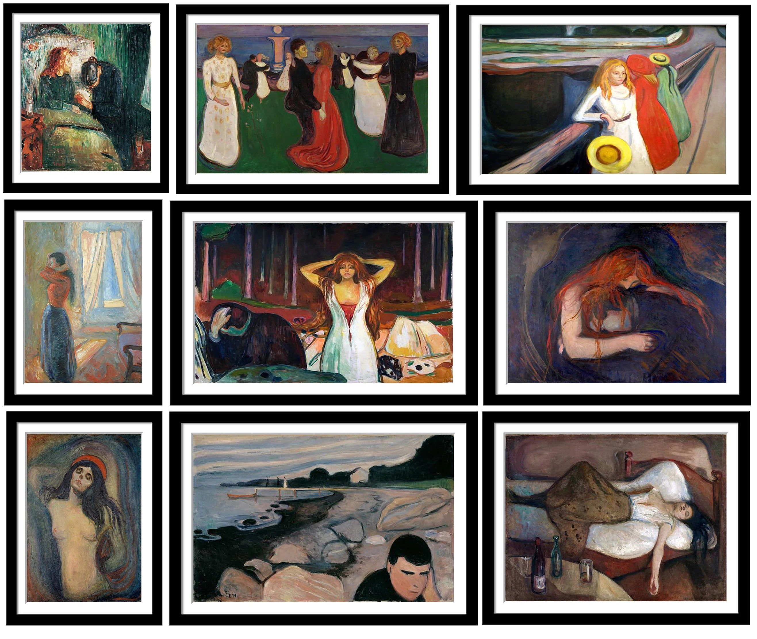 edvard munch set of 10 framed poster paper 12 x 17 inches each