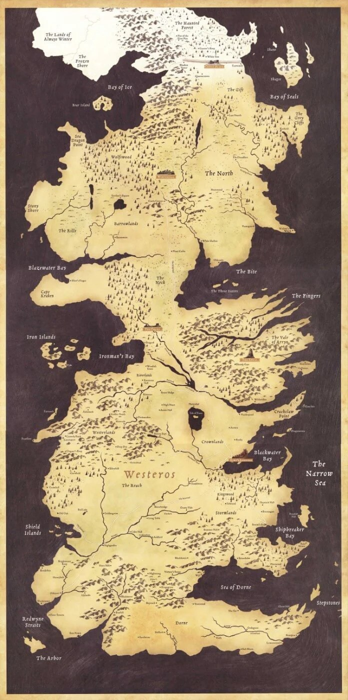 fan art poster game of thrones map of the seven kingdoms westeros tv show collection large art prints