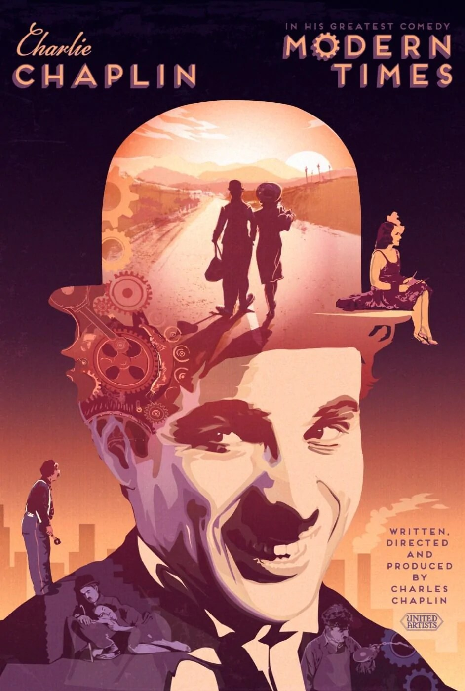 tallenge hollywood collection charlie chaplin modern times vintage movie poster life size posters