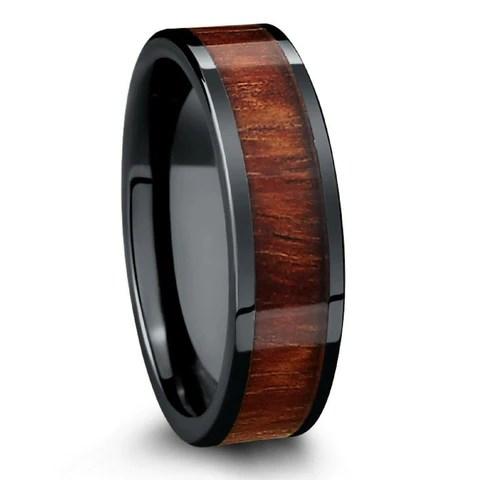 Barrel Ceramic Koa Wood Ring NorthernRoyal