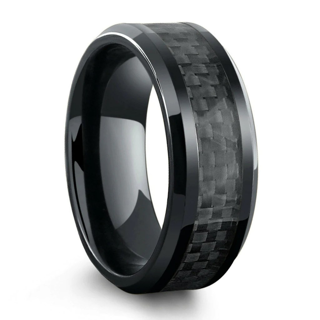 all black titanium ring mens wedding band with carbon fiber inlay
