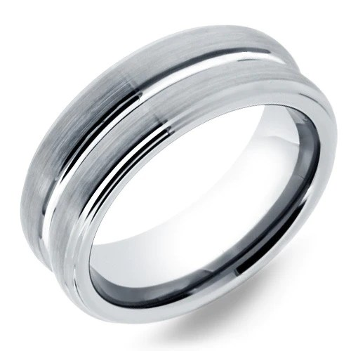 8mm Mens Tungsten Wedding Band With Silver Polished