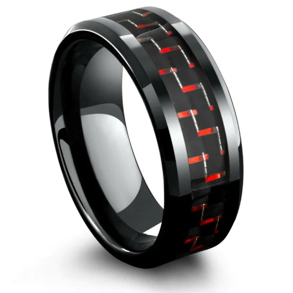 8mm Mens Black Tungsten Wedding Band With Black Amp Red