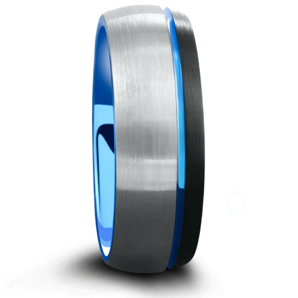 Mens 8mm Brushed Tungsten Wedding Ring Three Tone