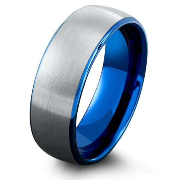 Mens Ocean Blue Brushed Tungsten Wedding Band NorthernRoyal