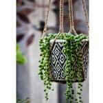 Macrame Shika Plant Hanger Lark Jute Bamboo Handle 64cm Fair Go Trading
