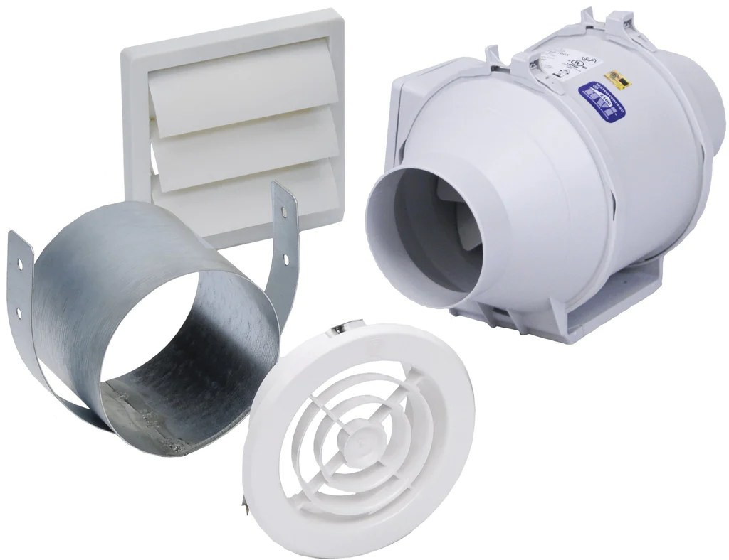 mixvent 4 inch exhaust fan kit with 4 inch exhaust fan 135 cfm kit td100x1