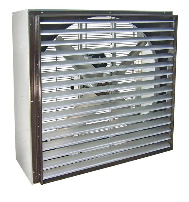 vik cabinet exhaust fan w shutters 42 inch 13000 cfm 3 phase 230 460 volt belt drive vik4213 x