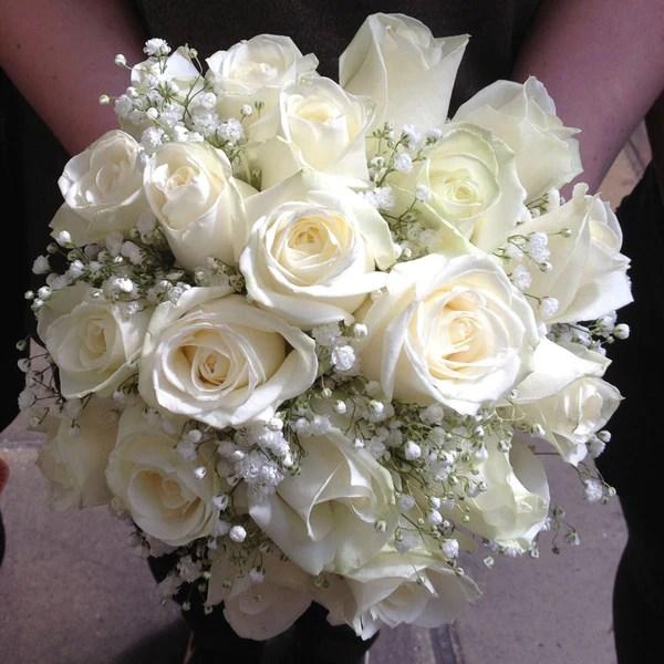 Brides White Rose Bouquet Alan Brown Flowers