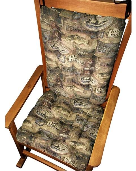 Woodlands Fish Camp Rocking Chair Cushions Latex Foam