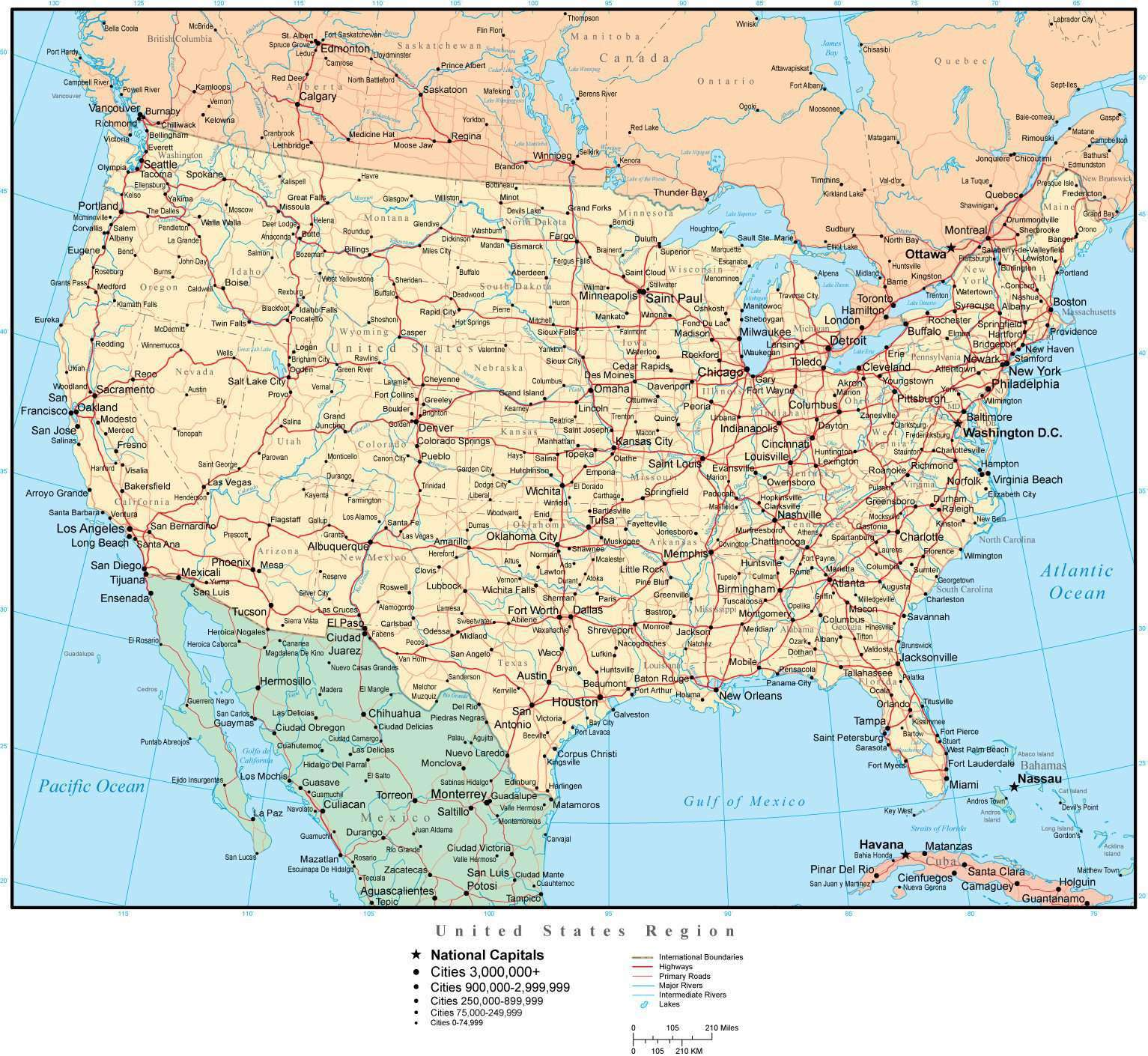 United States Map With Us States Capitals Major Cities Roads