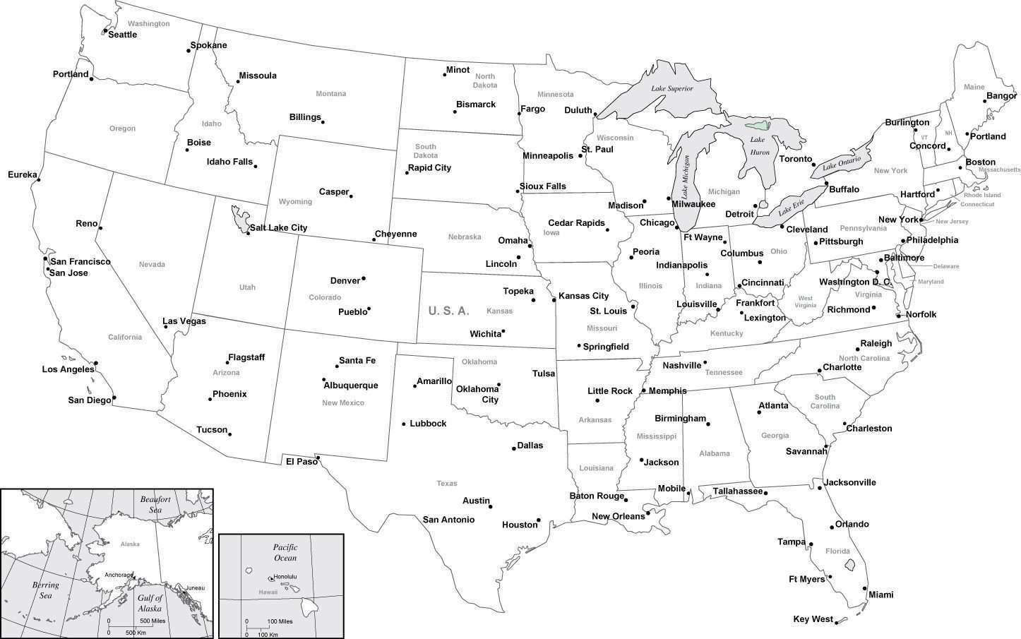 Black White Usa Map With Major Cities