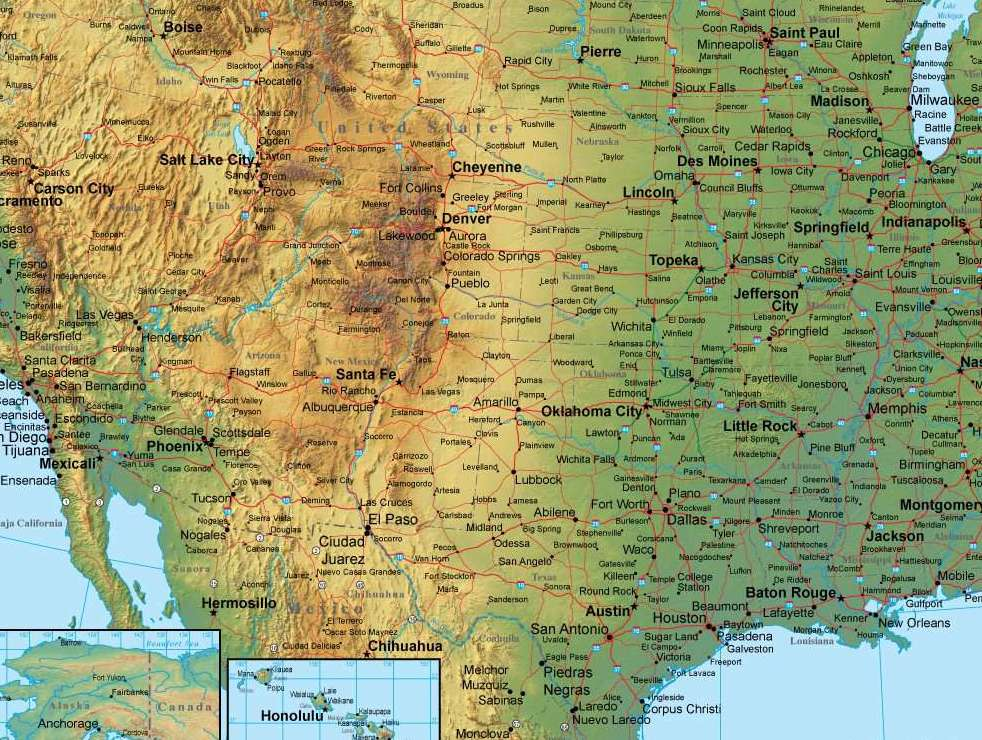 HD Decor Images » Digital USA Terrain map in Adobe Illustrator vector format with     Tap to expand
