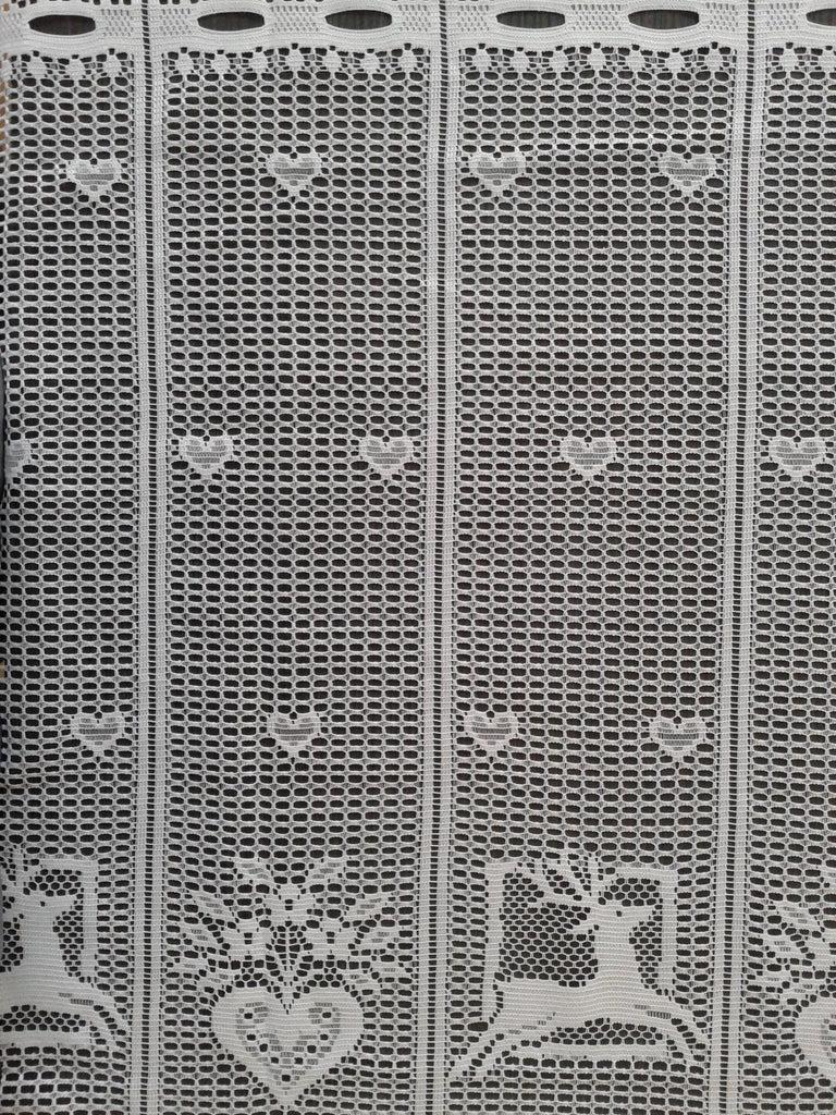 rideau modulable en largeur blanc motif rennes et coeurs 210 cm de hauteur