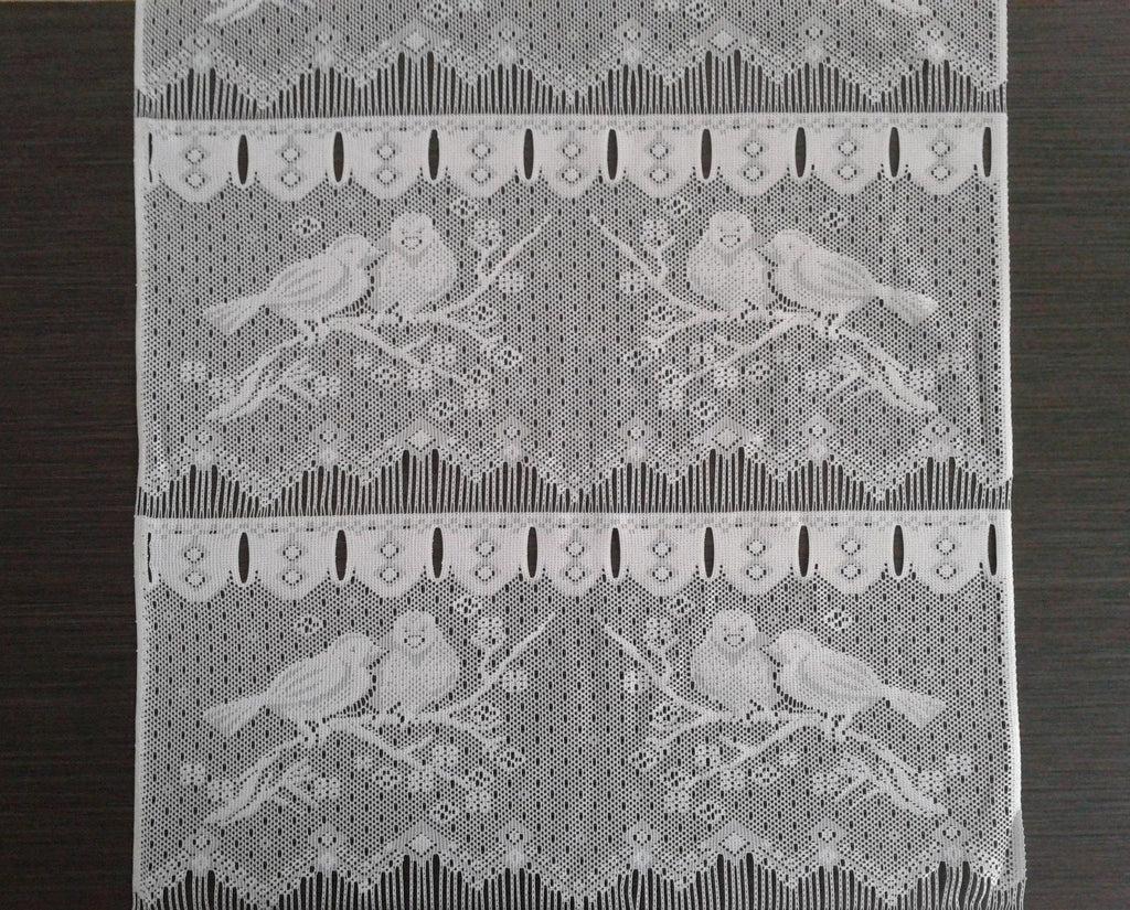 rideau brise bise blanc 45 cm de largeur motif moineaux modulable en hauteur