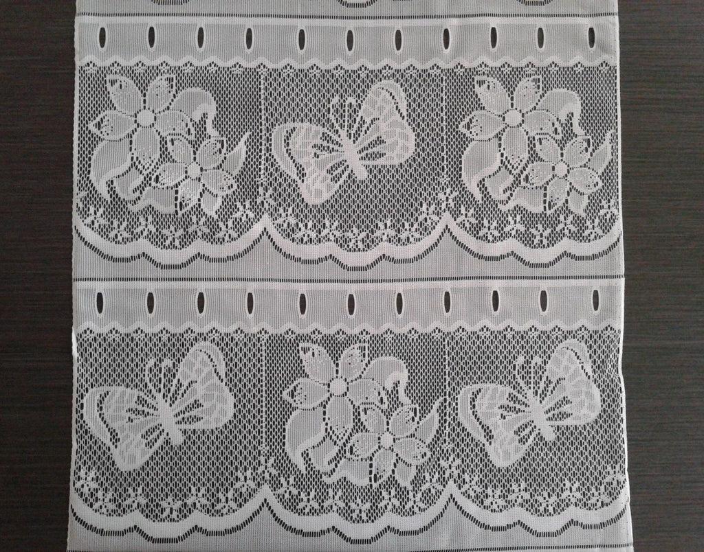 rideau brise bise blanc 45 cm de largeur motif papillons modulable en hauteur