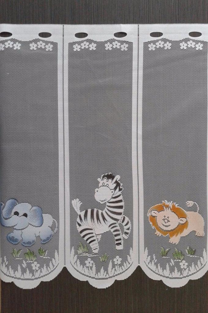 rideau modulable en largeur colore motif safari 60 cm de hauteur