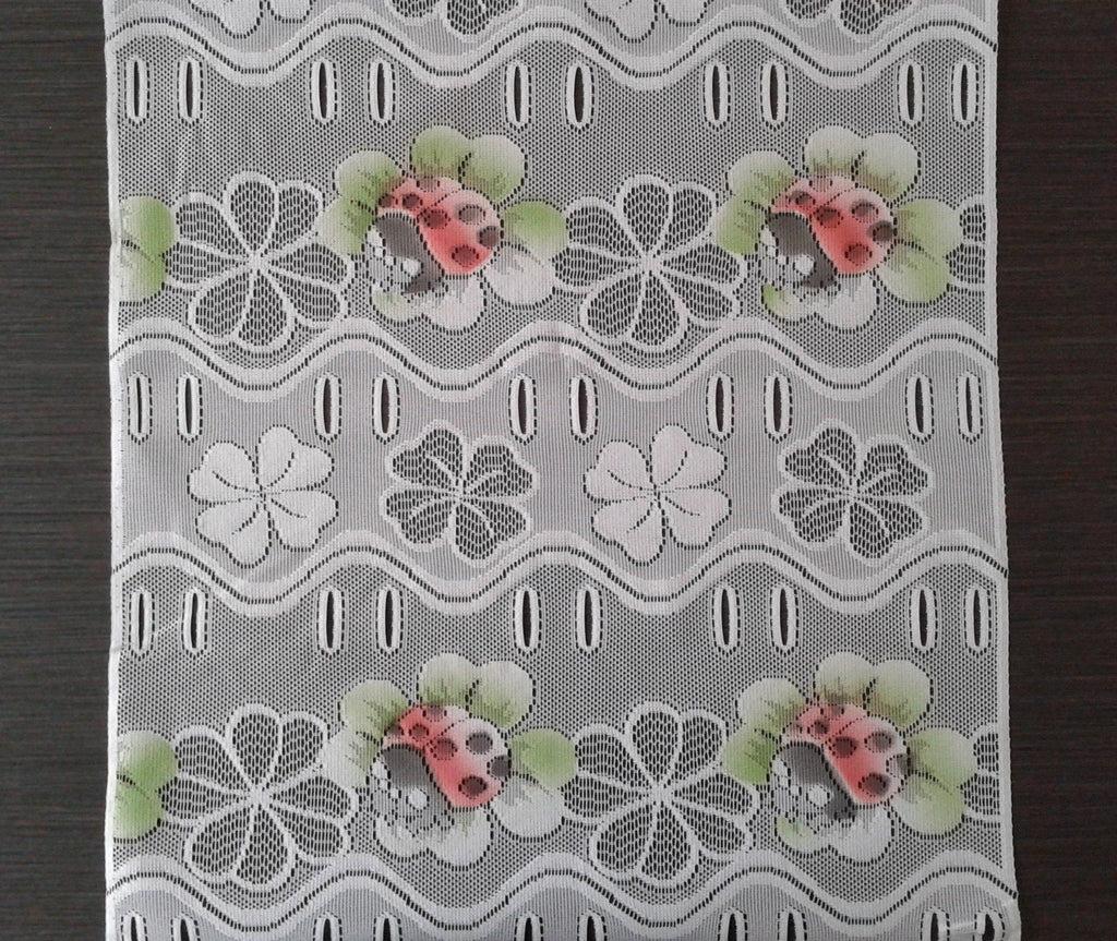 rideau brise bise colore 45 cm de largeur motif coccinelles modulable en hauteur