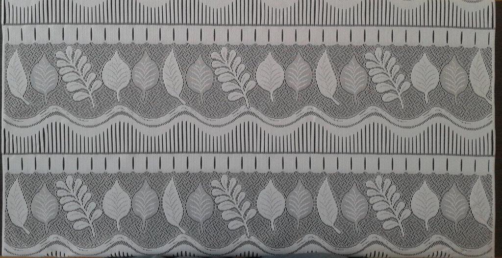 rideau voilage blanc 90 cm de largeur motif feuilles modulable en hauteur