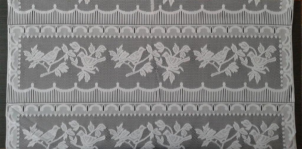 rideau voilage blanc 90 cm de largeur motif petits oiseaux modulable en hauteur