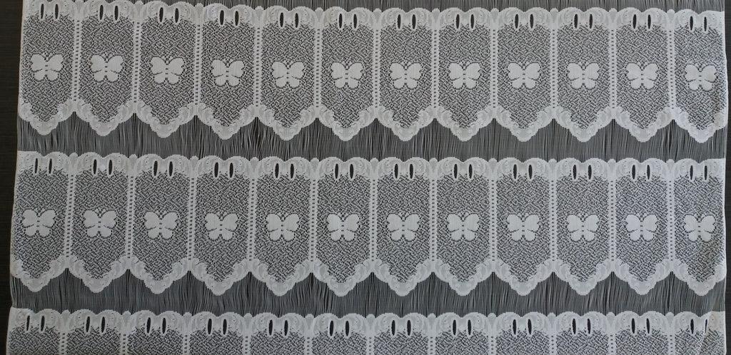 rideau voilage blanc 90 cm de largeur motif petits papillons modulable en hauteur