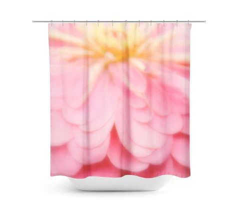 abstract pink and yellow flower shower curtain