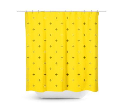 swiss cross mustard yellow shower curtain