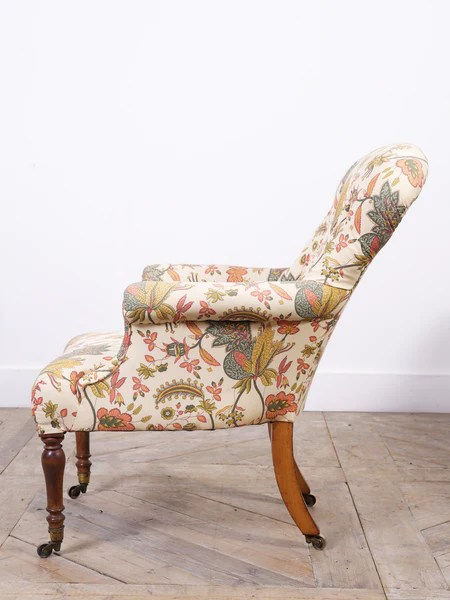 Early Victorian Upholstered Armchair Drew Pritchard Ltd