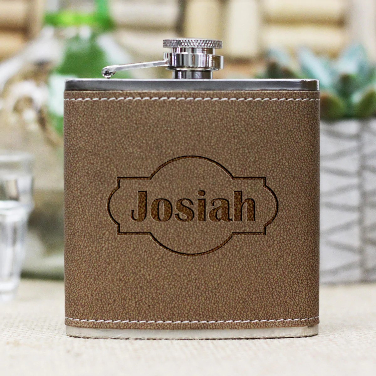 Personalized Flask Josiah Stamp Out