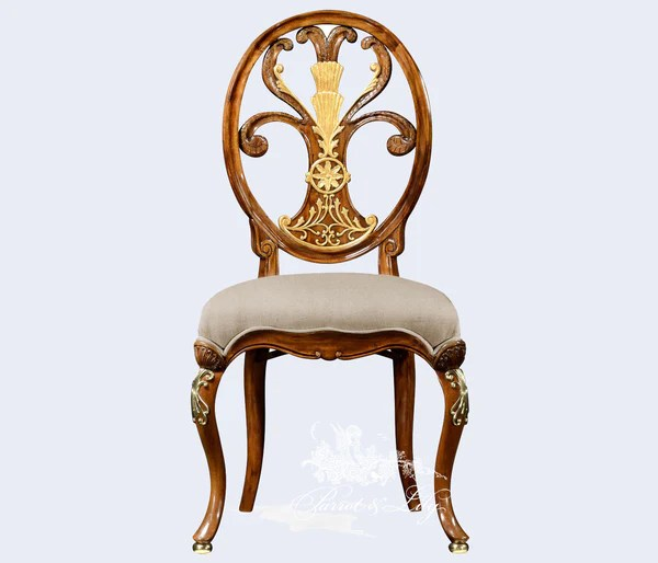 Chair Inspired By Thomas Sheraton With Fleur De Lys