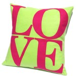 Love Neon Green On Pink Pillow Cover Studio Arethusa