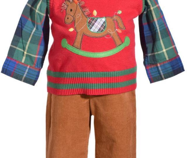 Bonnie Jean  Piece Christmas Sweater Vest Pants Set With Rocking Horse