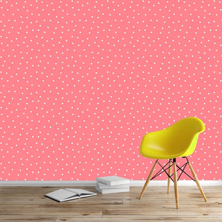 papier peint polka saumon