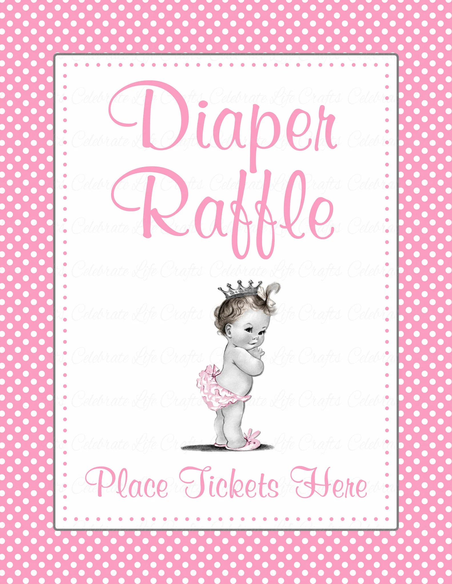 Diaper Raffle Tickets For Baby Shower Princess Baby