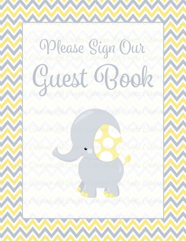 Baby Shower Guest List Set Printable Download Yellow Gray Baby Shower Decorations B3005