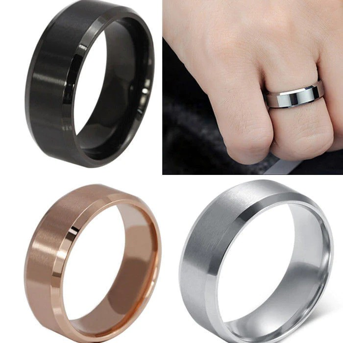 8 Mm Stainless Steel Unisex Wedding Band Silver Black Gold